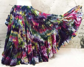 Tribal belly dance skirt-tie dyed, ATS, SCA, fusion,tribal style belly dance, bohemian heavy on the avocado