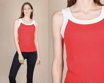 70s Retro Tank Top - Small // Vintage Red White Sleeveless Shirt