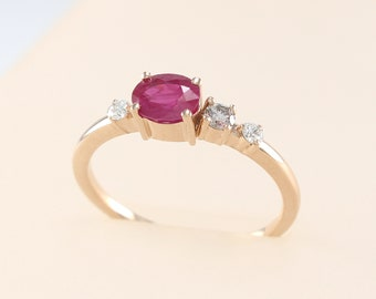 Ruby Ring, Cognac Diamond Ring, Champagne Diamond Ring, Stone Cluster Ring, Ruby Ring 14k Gold