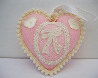 Pink felt hearts in various designs