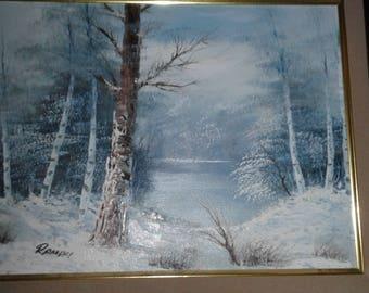 Vintage Oil On Canvas/ Signed/ Snow Covered Trees/Aspens/Lake/Pond