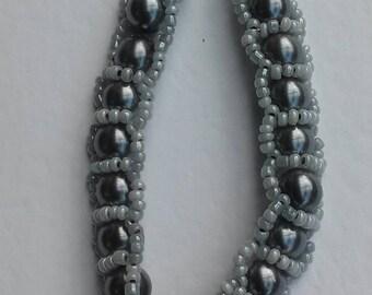 Handwoven Bracelet in Gun metal Grey
