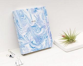 2017 - 2018 17M Agenda Marble ARCTIC BLUE Planner Hardcover Spiral Bound