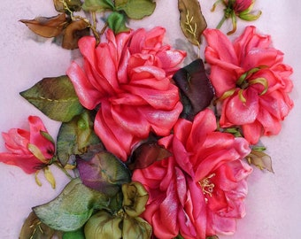 """Wall handing art embroidered  roses picture for framing """"Rose"""" Silk ribbon embroidery art of embroidery ribbon work ribbon flowers pink rose"""