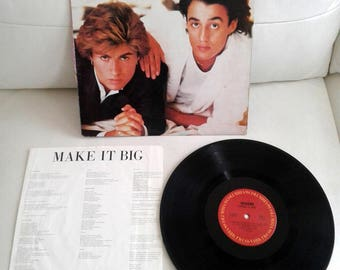 "Vintage WHAM Make it Big George Michael lead singer - LP Record Vinyl Album 12"" VG+ Wake me up - Careles whisper - Monkey"