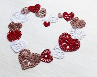 Hearts crochet pattern appliques