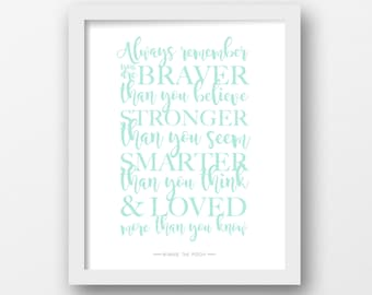Always remember, Winnie the Pooh, Quote print, Disney quote, Minimalist, Modern wall art, Mint printable, Nursery decor, Children's art