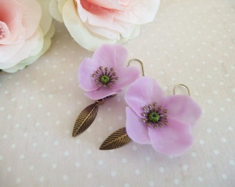 Poppy Flower Earrings / purple poppy, poppy flower earrings, poppies