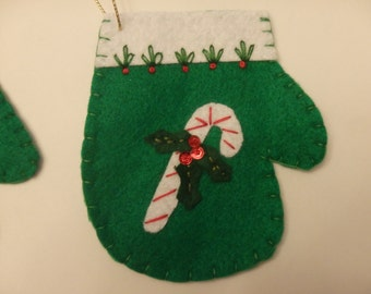Felt Christmas Ornament Holiday Decoration Candy Cane Mitten
