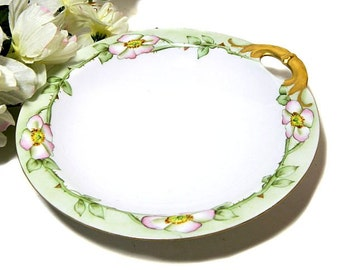Antique Haviland Limoges Hand Painted Shallow Serving Bowl Wild Roses