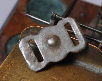 Antique brass plate pendant, connector, finding, dark patina