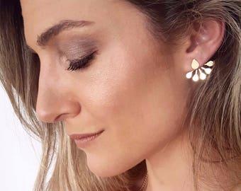 Drops Ear Jackets, Gold Jacket Earrings, drop Stud Earrings, Front Back Earrings, Gold Double Back Earrings, Two Sided Earrings, teardrops