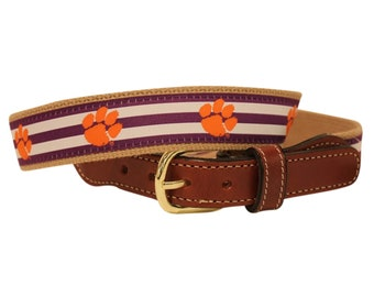 Clemson Tigers Web/ Leather Belt