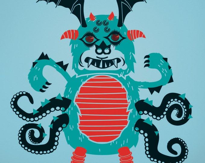 monster wall decal, DIY monster decal kit, make your own monster sticker art, jabberwocky art, boys room decor, girls room decor