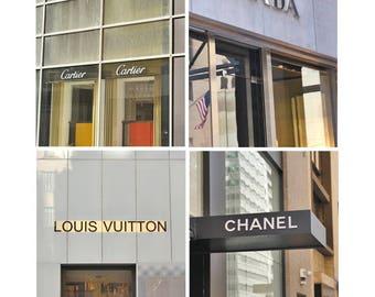 Fashion wall art vertical art, fashion prints set of 4, Prada art, Louis Vuitton art, Cartier Chanel decor, bathroom prints, dorm room decor