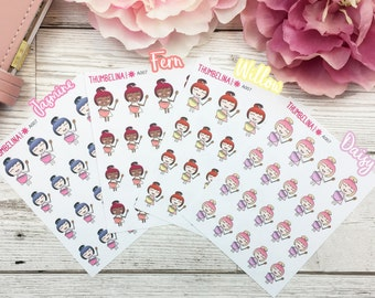 Baking Kawaii Girl, Chibi Character, Planner Stickers - Cooking, Cake Making Stickers (A007)