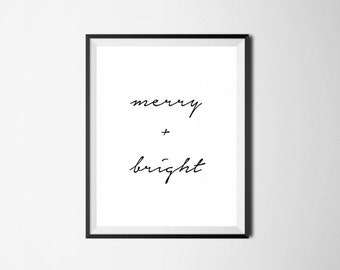Christmas Digital Print, Merry and Bright, Christmas Printable, Christmas Wall Art, Christmas Decor, May Your Days Be Merry and Bright