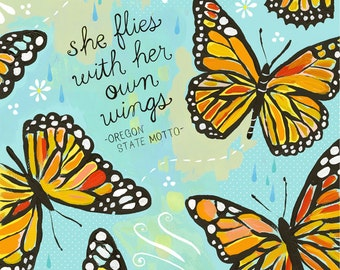 She Flies With Her Own Wings Paper Print | Inspirational Wall Art | Hand Lettering | Butterfly Art | Katie Daisy