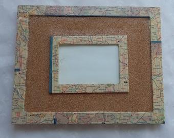 Hand Made Decoupage State Map Cork Board Memo Frame