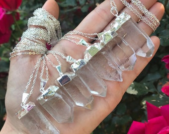 """QUARTZ CRYSTAL necklace // silver // Manifest & cleanse // magic // 28"""" ready to ship"""