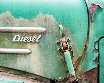 Truck Photo or Canvas, Vintage Emblem Art, Antique Vehicle, Old Car Insignia, Masculine, Rustic Art, Chrome, Rusty Brown, Teal - Diesel