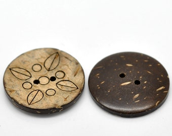 6 Large coconut buttons brown foliage pattern coconut shell round sewing buttons 30mm