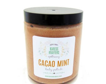 Cacao Mint Body Polish - Emulisified - Cacao Body Polish,  Sugar Scrub - 100% Natural, Essential Oils, Natural Herbs, Glass Jar