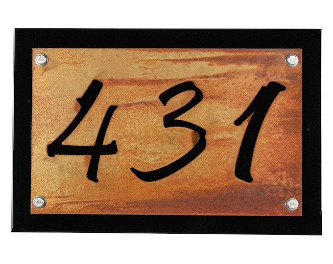 Featured listing image: Black Rustic Metal Address Number Plaque, House Number Sign, Rustic Address Sign, Street Address, House Number Plaque, Address Plate