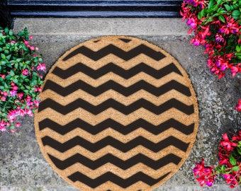 Chevron Pattern Circle Doormat
