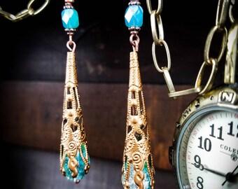 Dangle COPPER Earrings,Aqua Teardrop Earrings,Victorian,Glass Beads, Filigree,Steampunk, Vintage Style,Dangle Earrings,Drop Earrings,Jeweled