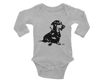 Dachshund Baby Clothes, Doxie Dachshund, Wiener Dog, Dog Baby Clothes, Dachshund Baby Bodysuit, Dog Baby Announcement, Dog Baby Shower