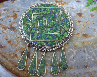 VINTAGE AZTEC DESIGN sterling inlaid modernist pin signed Sterling  Mexico