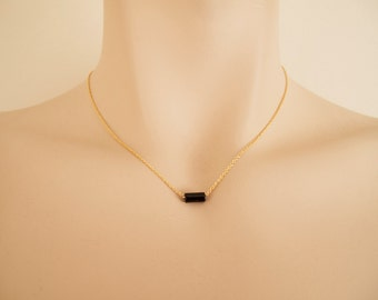 Black Onix Gold Necklace - Minimalist Necklace - Delicate Necklace - Gift for Her