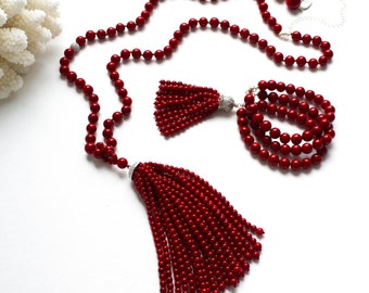 """Red coral tassel necklace """"GLORIOUS SUMMER"""""""