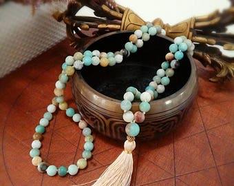 Amazonite Mala Beads, 108 Mala Bead, Mala Necklace, Prayer Beads, Yoga Jewelry, Japa Mala, Meditation, Amazonite Necklace, Tassel Nacklace
