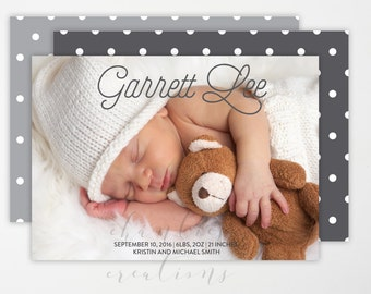 Baby Girl or Baby Boy Birth Announcement - Gray Polka Dot Backing Digital or Print