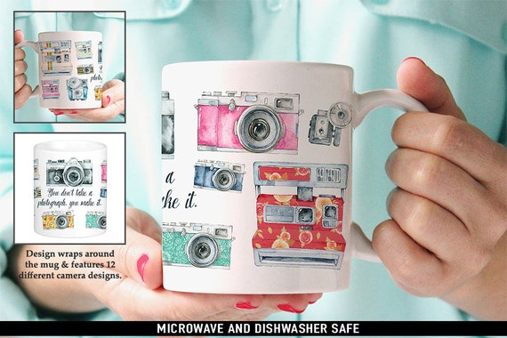 Coffee Mug Photography Quote and Vintage Cameras Coffee Mug - Great Gift for Photographer