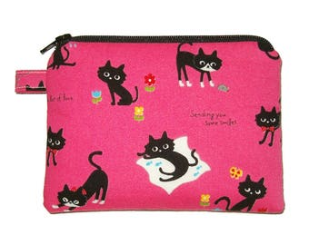 Happy Cat Zipper Coin Purse - small Padded Pouch - Pink Purse - Cat Purse - Small Coin Purse - Girl's Purse