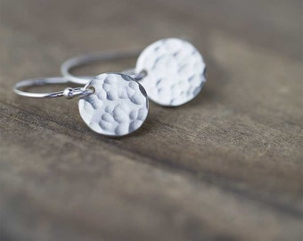 Sterling Silver Earrings Handmade Jewelry, Minimalist Earrings Hammered Dangle Disc Earrings, Gift for Women, Handmade by Burnish,