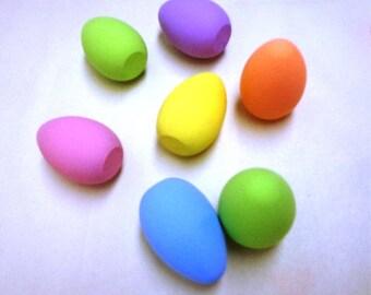 Wood Easter Eggs, 7 Hand Painted Wood Easter Eggs, Wood Eggs, Easter Wood Egg, Easter Eggs