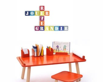 Set of letters pop words play dream + grow - wall decor