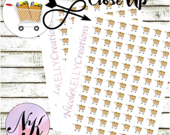 48 Grocery Cart Stickers, Planner Stickers, Grocery Carts, Market stickers, use with Erin Condren Planner(TM), Happy Planner,planner,Sticker