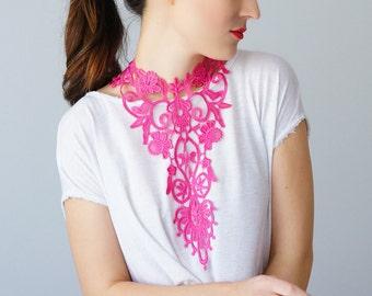 Pink Necklace Venise Lace Necklace Lace Jewelry Bib Necklace Statement Necklace Body Jewelry GiftCustom/ GREZZANE
