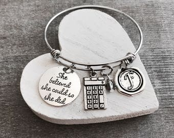 CPA Gift, ACA, CPA Jewelry, Accountant, Calculator charm, Math teacher gift, She Believed she could so she did. Silver Charm Bracelet, Gifts