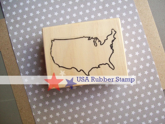 USA Rubber Stamp - 4th of July United States of America stamp - 2 inches