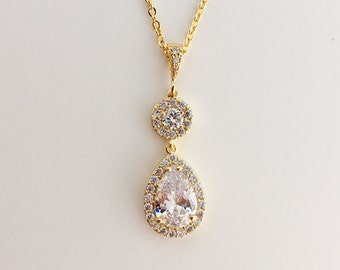 Gold Cubic Zirconia Necklace Gold Crystal Necklace Gold Wedding Jewelry Gold Teardrop Halo Pendant Gold Bridal Necklace Gold Bridesmaid