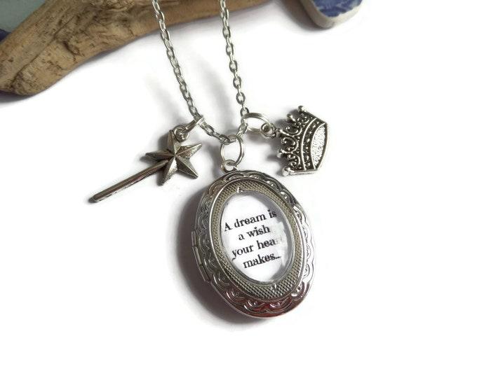 Dream wish necklace, dream is a wish, princess necklace, princess gift, make a wish, wish necklace, dream wish locket, locket necklace,