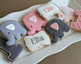 Elephant Cookies-Elephant Birthday Cookies, Elephant Baby Shower Cookies