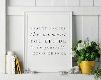 Beauty Begins -  Coco Chanel Quote Minimalist, High Fashion Wall Art Home Decor, Chanel Artwork, Chanel Wall Art, Quote Wall Art, 2 sizes!
