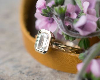 Emerald Cut Moissanite Engagement Ring | 7x5mm Step Cut Forever One Moissanite Engagement Ring | Bezel Set Ring | Ethical Engagement Ring